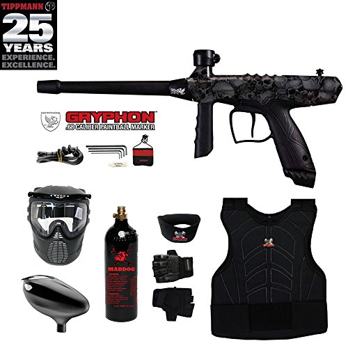 Maddog Tippmann Gryphon FX Beginner Protective CO2 Paintball Gun Package - Skull
