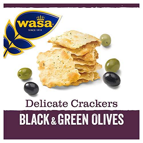 Wasa Knäckebrot Delicate Cracker Schwarze und Grüne Oliven, 5er Pack (5 x 150g)