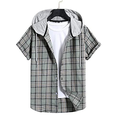Shirt Hombre Verano Holgada Color Cuadros Hombre Casuales Camisa Moderno Urbano Básico Cardigan Lazada Manga Corta Diaria Casual Transpirable Camiseta DM03 S