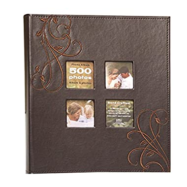 Kleer-Vu Photo Embroidery Leather Collection, Holds 500 4x6 inches Photos, 5 Per Page - Brown.