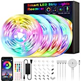 65.6ft Led Strip Lights Reemeer Led Lights Strip Music Sync Led Lights Smart App Controlled and Remote Led Lights for Bedroom Party Home Decoration