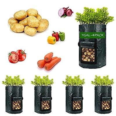 Potato-Grow-Bags,4 Pack 7 Gallon Garden Vegetab...