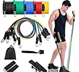 ZOSOE Resistance Bands Set (11pcs), Exercise Bands with Door Anchor, Handles, Waterproof Carry Bag, Legs Ankle Straps for Resistance Training, Physical Therapy
