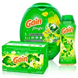 Gain Flings Laundry Detergent Pacs with Gain Fireworks in-Wash Scent Booster & Gain Dryer Sheets, Original, 240 Count