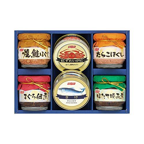 ニッスイ詰合せ BS-35(紅ずわいがにほぐし脚肉かざり 50g(1缶)・さけ水煮 100g(1缶)・焼鮭ほぐし 55g(1個)・たらこほぐし 50g(1個)・まぐろ佃煮 50g(1個)・ほたて時雨煮 50g(1個)) 日本水産