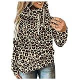 YANFANG Sudadera con Capucha de Mujeres, Otoño Invierno Casual Sport Star Leopard Prints Pullover,Baratas Jersey Casual Camiseta Otoño Invierno Sudaderas Blusa Tops Pullover,
