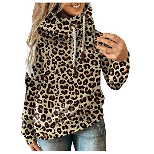Damen Winter Sweatshirt High Neck Warm Kapuzenpullover Asymmetrische Langarm Casual Hoody Pullover Tops