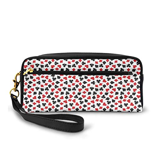Pencil Case Pen Bag Pouch Stationary,Heart Spades Diamonds and Clubs Pattern in Playing Card Suit Themed Illustration,Small Makeup Bag Coin Purse