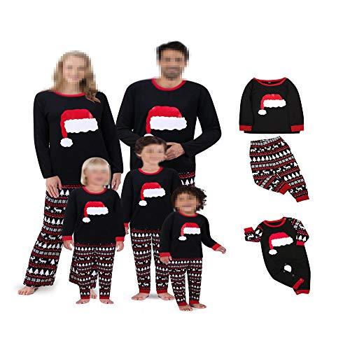 DISCOUNTL Pijama de Navidad a juego con letra de Navidad impresa camiseta de manga larga a cuadros, ropa de salón de Navidad 2 piezas conjuntos de albornoz para mujer