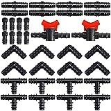 Luckynono - Kit di raccordi per irrigazione per tubi, 34 pezzi, connettori in plastica, 16 mm, connettori misti per sistemi di irrigazione da giardino