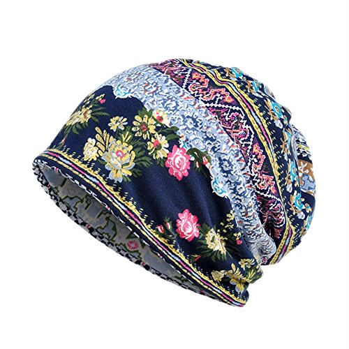 Homeofying Mujeres Vintage Flower Print Sun Block Musulmn Cap Stretch Turbante Sombrero Cabeza Bufanda Slouchy Skullies...