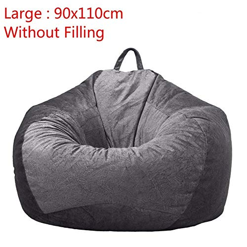 Gray Bean Bag Cover Velvet Fauteuil zonder vulling Lounger Seat Zitzakken Puff Couch Living Room Lazy Sofa Covers 90x110cm (Color : Large)