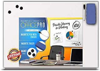 Officeline Ultra-Slim, Lightweight Magnetic Dry Erase Board & Accessories (Includes Whiteboard Pen & Pen Tray, 3 x Magnets & Eraser) (18 x 24 Inch)