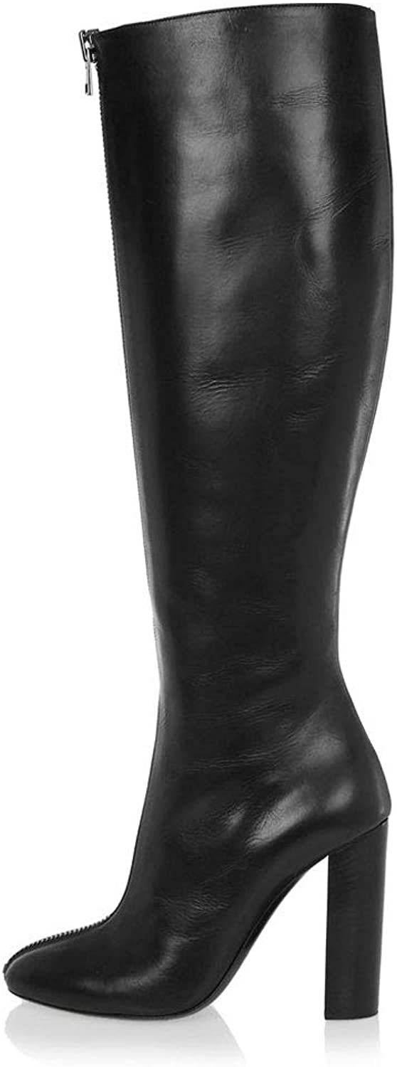 Women's High Heel and Knee Boots Round Head Front Zipper Boots High Tube Thick with Warm and Waterproof