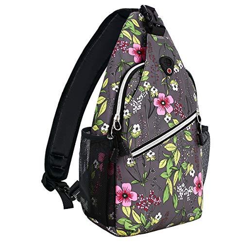 MOSISO Sling Backpack,Travel Hiking Daypack Periwinkle Crossbody Shoulder Bag, Gray