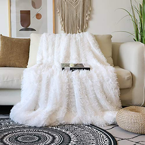 Decorative Extra Soft Faux Fur Blanket Full Size 70' x 78',Solid Reversible Fuzzy Lightweight Long Hair Shaggy Blanket,Fluffy Cozy Plush Fleece Comfy Microfiber Blanket for Couch Sofa Bed,Pure White