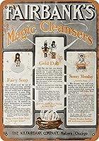 フェアバンクのマジッククレンザーティンサイン装飾ヴィンテージ壁金属プラークカフェバー映画ギフト結婚式誕生日警告のためのレトロな鉄の絵