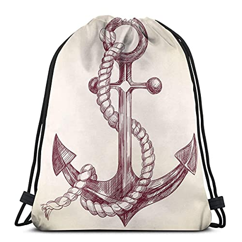 Realistico disegnato a mano Sketch Marine Vintage Design Vele Yacht Boat Cruise,Chiusura regolabile stringa stampato coulisse Zaini Borse