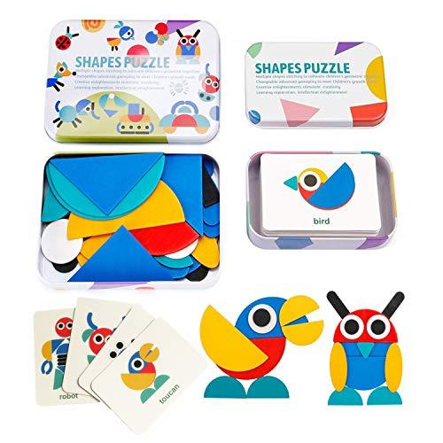 NASHRIO Kinder Holzpuzzle Montessori Spielzeug Sortier- und Stapelspiele Lernspielzeug Pädagogisches Geschenk für Kinder 4-8Jahre,Weihnachten Geburtstag (Tierpuzzle)