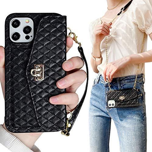 Yatchen Linda capa tipo carteira compatível com iPhone Xs Max, bolsa de couro luxuosa com design dobrável [compartimentos para cartão/dinheiro] com capa protetora à prova de choque (preta, iPhone Xs Max)