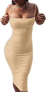 Women's Sexy Spaghetti Strap Sleeveless Bodycon Midi Club Dress