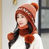 YCZDG Sombrero de protección contra la oreja Señoras más terciopelo grueso de punto sombrero de invierno sombrero de invierno sombrero de invierno babero de dos piezas traje