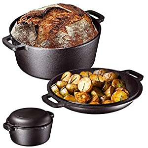 5-quart pre-seasoned heavy duty cast iron dutch oven and casserole with a lid that doubles down as a skillet Sturdy, integrated side handles on base and lid for secure transport and handling Oven safe, hand wash recommended, unparalleled in heat rete...