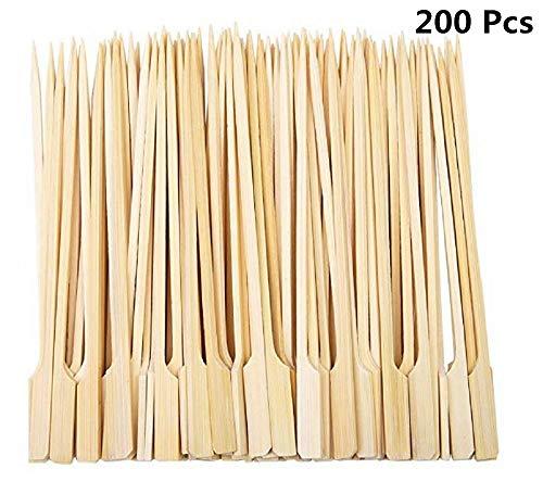Diligencer 200 Stücke Bambus Paddel Spieße Natürliche Holzstäbchen für Barbecue Cocktail Kaffee Picknicks Im Freien Garten Buffets Catering Party Bar (9 cm)