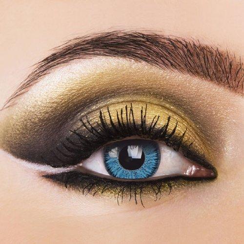 Eye-Effect Farbige Kontaktlinsen Aqua ohne Stärke mit Kontaktlinsenbehälter, blau / 0 Dioptrien, 2 Stück