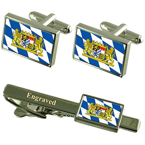 Select Gifts Die Flagge Bayern Manschettenknöpfe gravierte Krawattenklammer passende Box Set