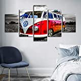 Whoops Modern Canvas Hd Printing Poster Decoración del hogar 5 piezas Volkswagen Bus Painting Wall Artwork Picture Boy Room Modular30 * 40 * 2 30 * 60 * 2 30 * 80Cmframeless