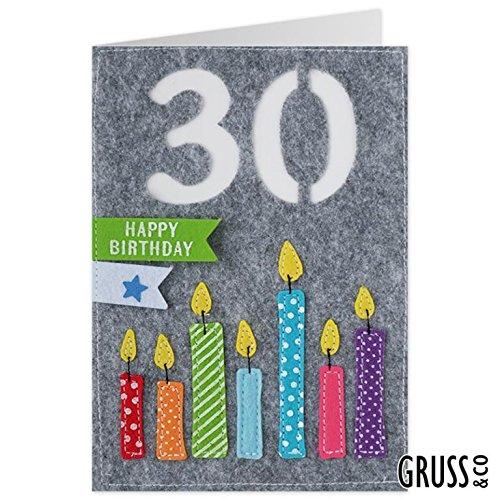 Grußkarte Filz - Happy Birthday zum 30 - Geburtstagskarte - 02