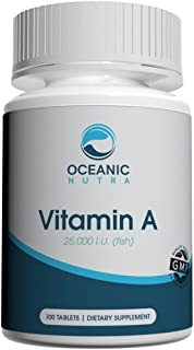 Oceanic Nutra Vitamin A 100 Count 25,000 IU Eye and Vision Support - Retinol and Carotenoid Nutrition Made in USA
