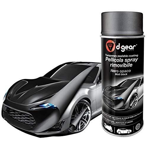 Lancer Vernice Pellicola Spray RIMUOVIBILE Removibile Wrapping D Gear 400ml + 1 Adesivo da pc Ricambi Auto Europa Gratis (Nero Opaco)