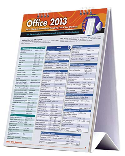 Office 2013: Excel, Word, & Powerpoint Including Quick Key Shortcuts: a QuickStudy Reference Tool for Excel, Word, & PowerPoint Including QuickKey Shortcuts