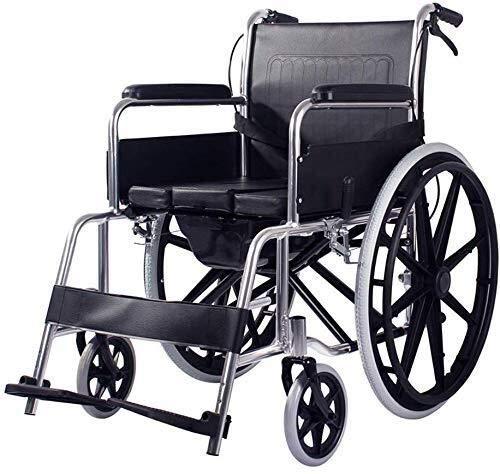 N/Z Equipo de Vida Sillas de Ruedas Ancianos Silla de Ruedas Multifuncional Scooter Plegable portátil Ultraligero con Carrito de Inodoro Ayudas para Caminar