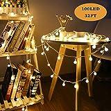 SPECOOL Guirlande lumineuse,100LED 8 Modes Eclairage étanche,Luminosité Réglable Convient pour la décoration Extérieure/Intérieure, Sapin Noël, Soirée Fête- Blanc Chaud