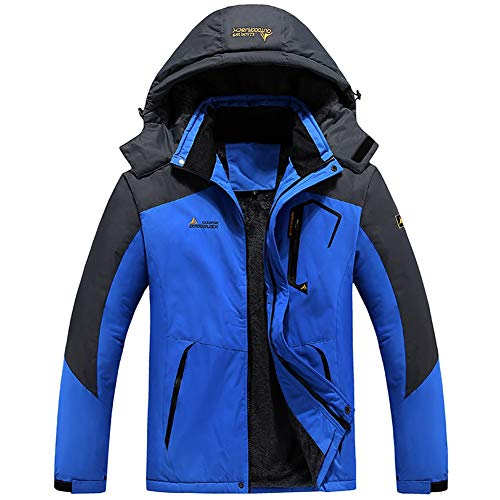 Men's Waterproof Ski Jacket Winter Warm Snow Coat Windproof Mountain Raincoat Snowboarding Hooded Jackets(Blue,L)