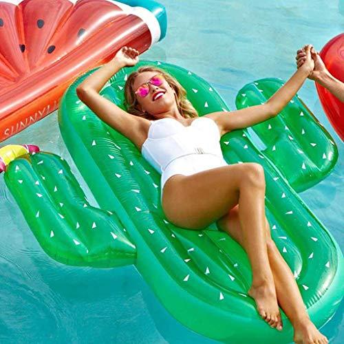 Hinchable Colchonetas Piscina Inflable Flotador Gigante Inflable Cactus Piscina Flotador Playa Roja Tumbona Colchón De Aire Adulto Natación Juguetes -Adultura Flotante Green-180 * 140CM
