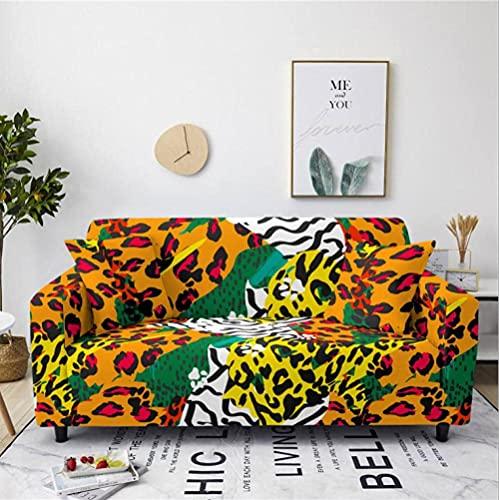 HMHMVM Funda de sofá elástica con estampado de leopardo, color marrón, funda de sofá antideslizante, funda universal para muebles, 2 fundas de almohada