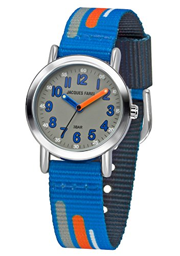 JACQUES FAREL Kinder-Armbanduhr Jungen Analog Quarz Metall Stoffband KPS 201