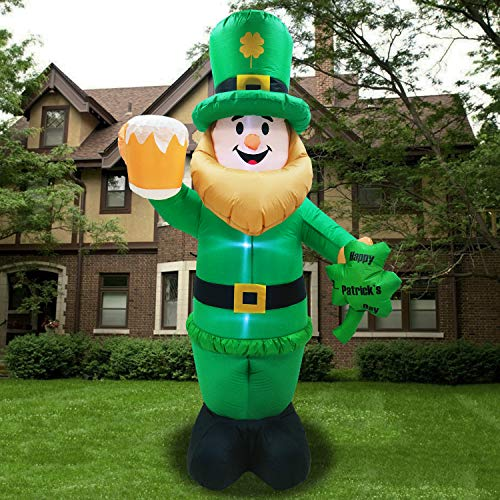 Camlinbo St Patrick's Day Inflatable Giant 8 Foot Inflatable Leprechaun with LED Light Holding Beer for St Patrick's Day Decoration Outdoor Fun Holiday Party Yard Blow Up Irish Day Decorations