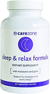 CareZone Sleep & Relax Formula with Melatonin, L-Theanine, Ashwagandha, and GABA - Dietary Supplement - 90 Day Supply