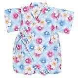 甚平 ロンパース ベビー 女の子 綿100% 日本製生地 グレコ カバーオール 万華鏡/水色-9131 70cm
