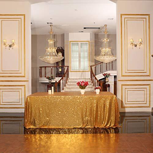 Eterna Beauty - Manteles de lentejuelas para bodas, Halloween, Navidad, fiesta de Navidad, dorado, 152*260cm