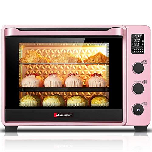 KAUTO 42L Elektroöfen, Professioneller Toaster mit Emaille-Einlage und Staub Dutch-Ofen, Rotisserie-Konvektions-Digitalofen mit Backbraten, Pink