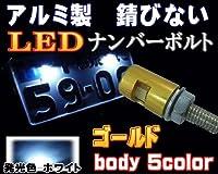 A.P.O(エーピーオー) アルミナンバーボルト 金▼ゴールド/LEDナンバーボルト/汎用/防水/LEDナンバー灯ボルト