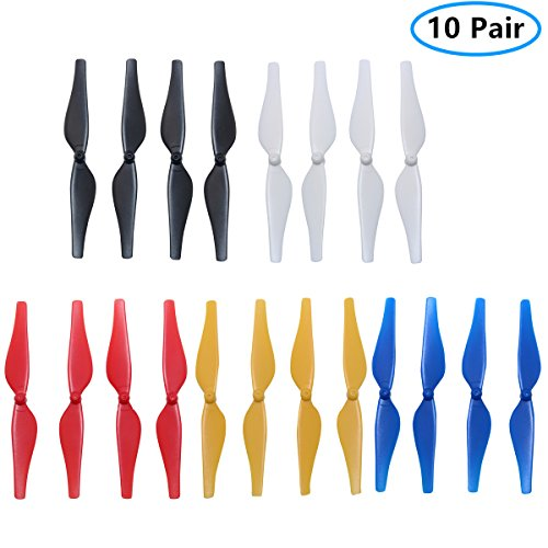 5 Colors Propeller Accessories New Quick Release Low-Noise Propellers CCW/CW Props Blades for DJI Tello RC Quadcopter,Pack of 5 Sets (Black+ White + Blue+ Red+ Yellow) Helistar