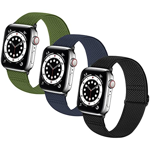 Neoxik Soft Nylon Braided Elastic Watch Bands Solo Loop Compatible with Apple Watch 38mm 40mm 42mm 44mm,Adjustable Sport Breathable Wrist Strap for iWatch Series 6/5/4/3/2/SE