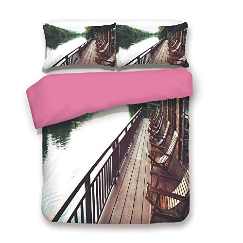 Zimmer Asian Duvet Cover Set Wooden Chairs in Floating Hotel on The River Kawai in Thailand Idyllic Resort Travel Comnforter Set Twin,Best Gift for Girls Mom Girlfriend Daughter Brown Green